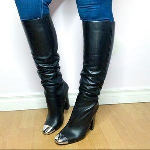 Aldo Cavallara Genuine Leather Silver Toe Boots 11